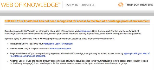 A friendly message from isiknowledge.com, NOTICE: Your IP address has not been recognized for access to the Web of Knowledge product environment.