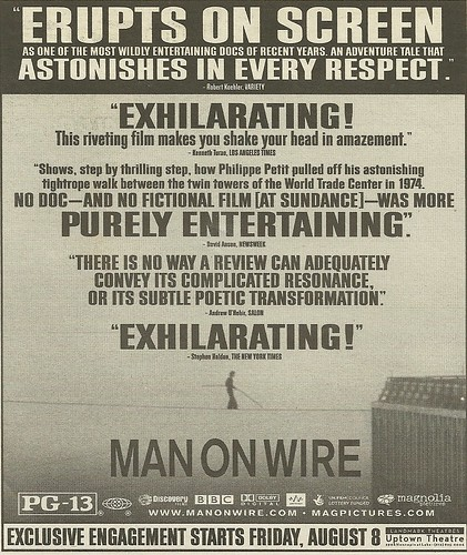 08/08/08, Man On Wire Movie Ad (Philippe Petit)