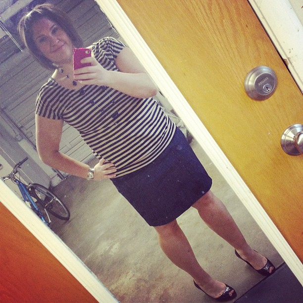 Busted out the denim pencil skirt to make it 5 for 5 on dresses/skirts this week. Spring bucket list: CHECK!