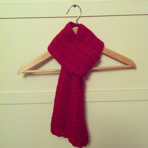 "Red crocheted scarf - ""Claudia Scarf"" - in 4ply wool"