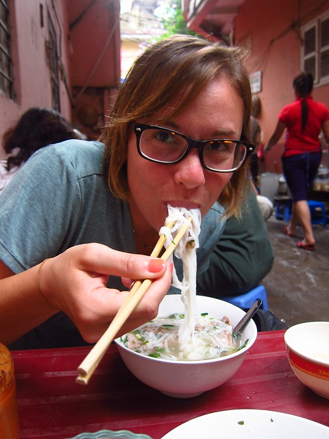 Claudia Eating Pho Bo