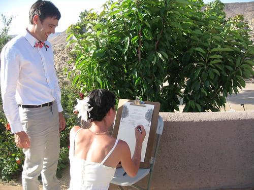 signing wedding doc