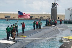 Sailors aboard the Los Angeles-class attack submarine USS Columbus (SSN 762) shift colors after arriving in Apra Harbor, Guam on May 30 for a routine port visit. (U.S. Navy photo by Mass Communication Specialist First Class Jason Swink)