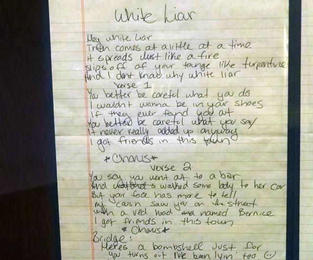 White Liar handwritten lyrics