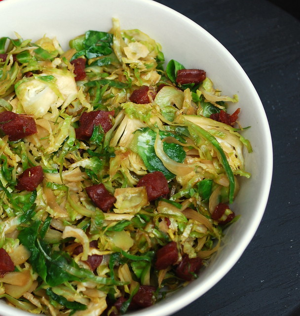 The Cutting Edge of Ordinary: Brussel Sprouts with Chinese Sausage