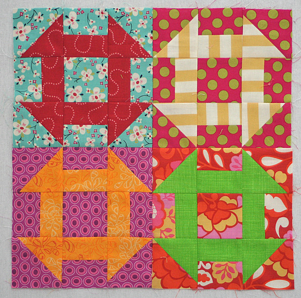Colorful Churn Dash block for Felicity