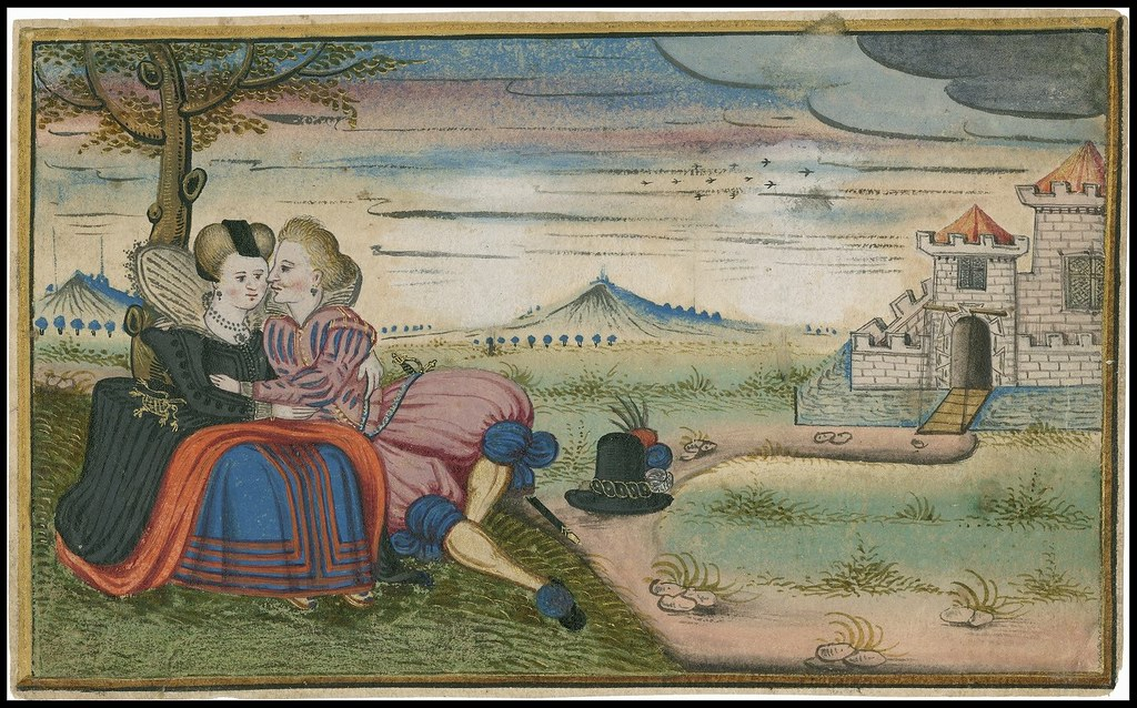 two lovers from 1620s sitting under a tree