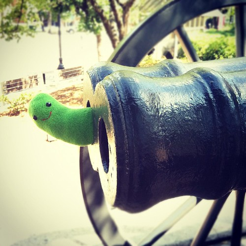 Pickle Plush at the double barrel cannon, Athens, Georgia. #etsyeverywhere