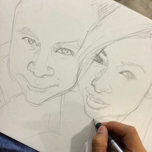 couple portraits in pencil sketch