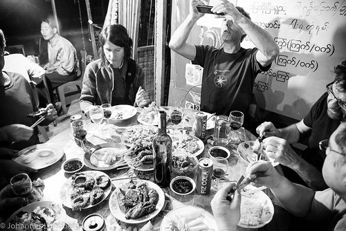 people food expedition monochrome dinner table person evening burma peoples myanmar mm persons manuela caver kayah myanmarburma speleologist bawlakhe philbence marcboreau romanhapka