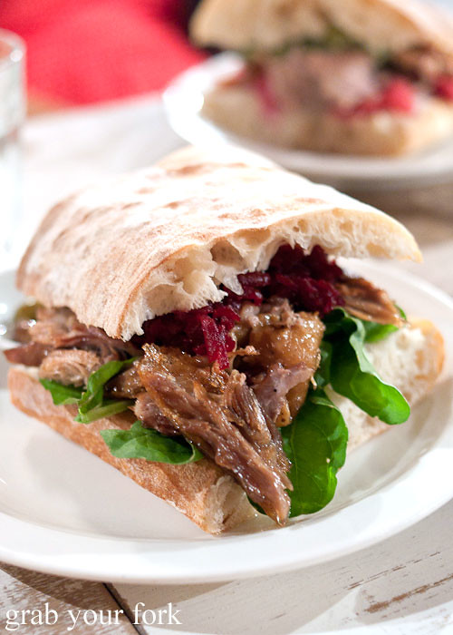 duck and beetroot sandwich at freda's chippendale