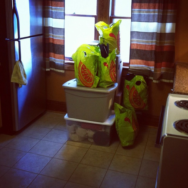 Day 5: tiny kitchen, tiny load packed. 4.5.12