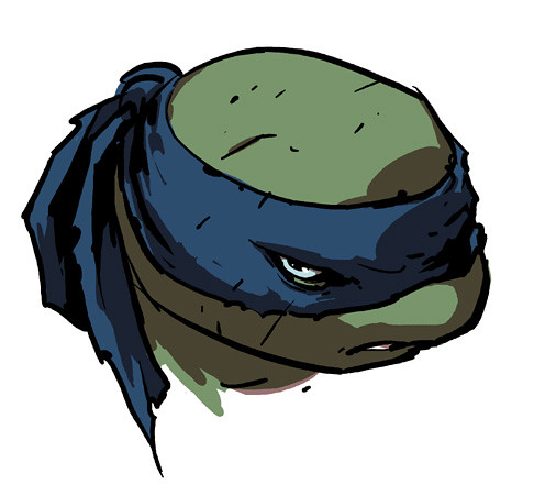 "IDW :: Teenage Mutant Ninja Turtles MICRO-SERIES #4; LEONARDO // ""LEO HEAD"" ..concept art by Ross Campbell (( 2012 ))"