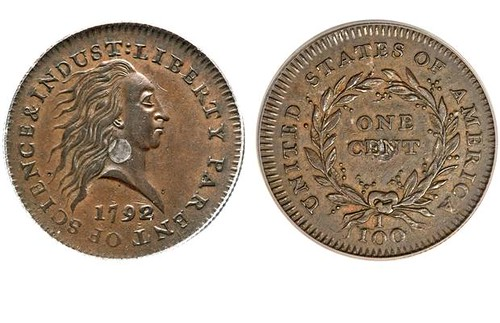 1792 silver center cent obv rev