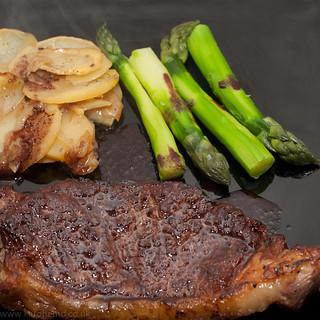 Sirloin steak cooked the Heston way, boulangere potatoes, new season asparagus