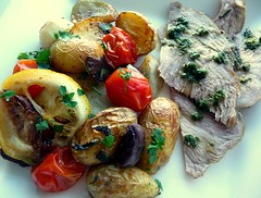 Leg of lamb with mint sauce & Roast potatoes a…