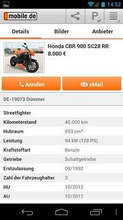 Motorrad-Inserat auf Android-App