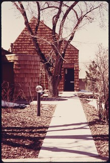 Home of architect Richard Crowther, that is heated with solar energy collected by flat plate collectors..., 05/1975.
