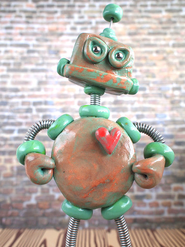 Patina Phil Angry Garden Robot Sculpture by HerArtSheLoves