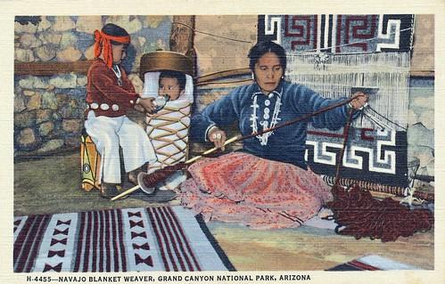 Postcard: Navajo Blanket Weaver, Grand Canyon National Park, Arizona