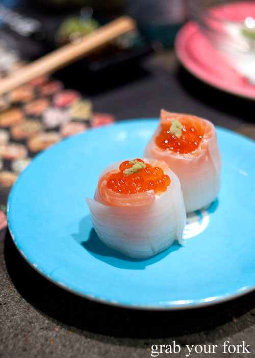 Raw squid with salmon roe at Umi Kaiten-Zushi