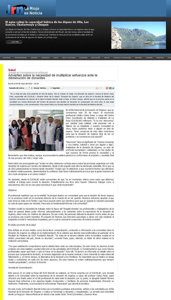 Site La Rioja es Noticia (La Rioja) - Día Mundial de la Donación de Órganos y Tejidos - 29-05-12