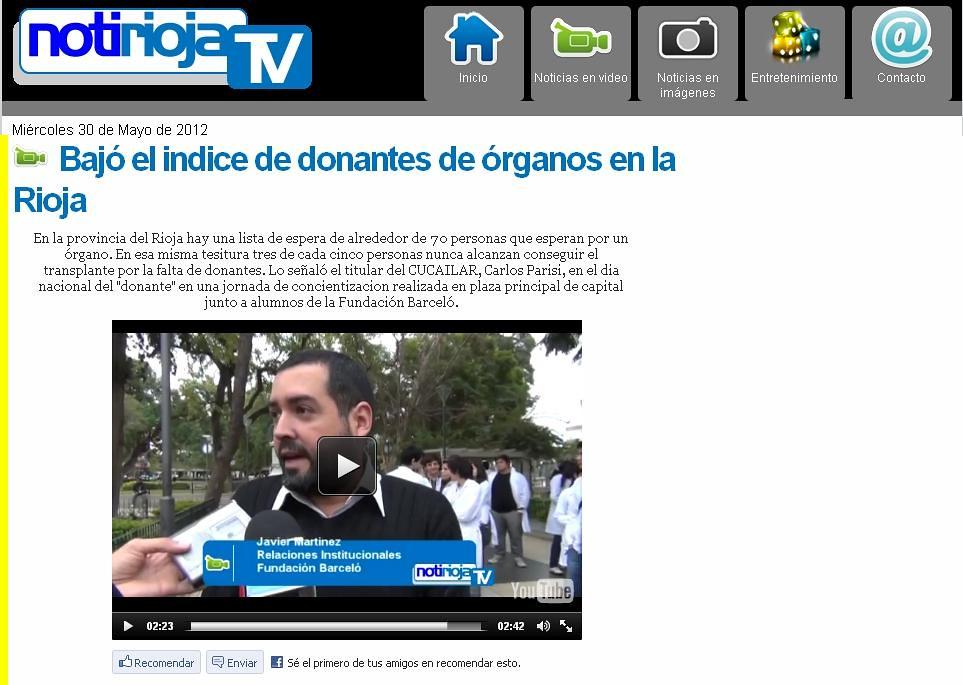 Site Noti Rioja Tv (La Rioja) - Día Mundial de la Donación de Órganos y Tejidos - 30-05-12