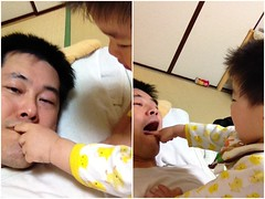 お父さんの口をこじあけて指を突っ込むよ^^ (2012/5/8)