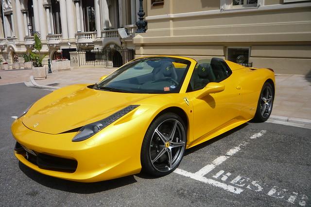 Yellow Ferrari 458 Italia Spider June 2012 Monte Carlo