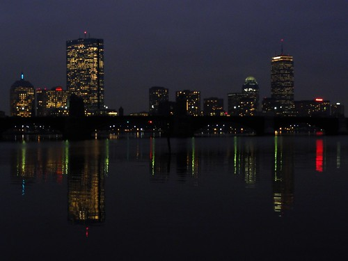 View of Boston at night over Charles River Basin