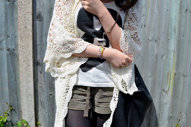 daisybutter - UK Style and Fashion Blog: what i wore, ootd, uk fashion, fashion blogger, crochet, kimono, SS12, wrap bracelet, zara messenger bag