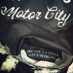 """Hidden message inside my cycling jersey pocket: """"Ambition is a dream with a V8 engine - Elvis Presley"""""""