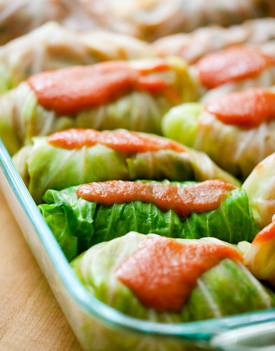 Vegetarian Cabbage Rolls w/ Barley, Zucchini, and Green Onion