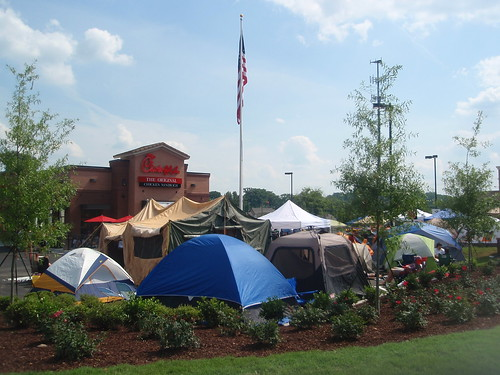 tents in the parking lot