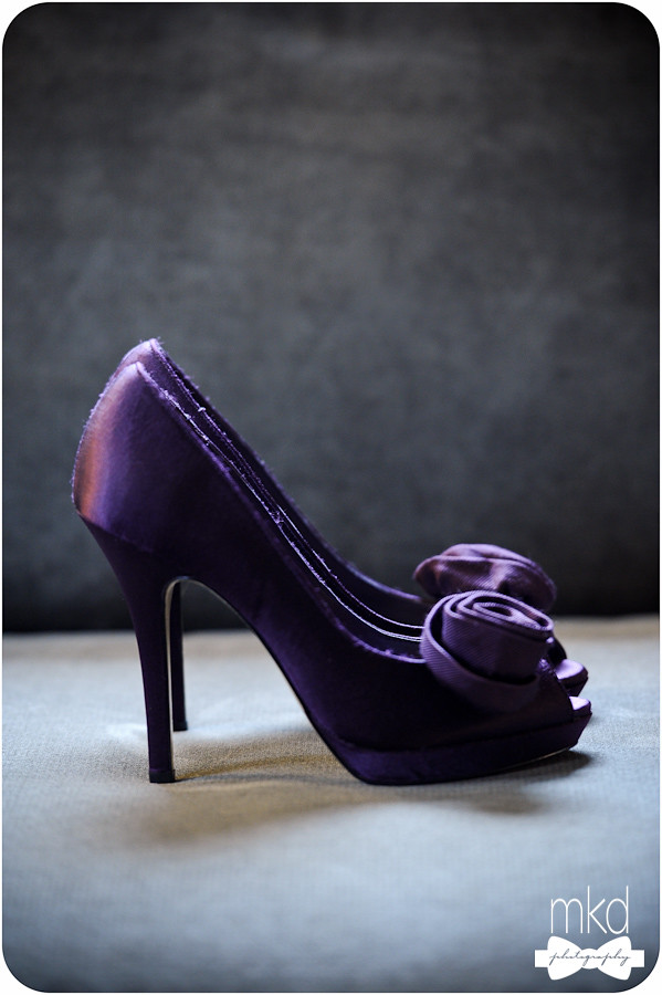 A Bride's Purple Wedding Shoes