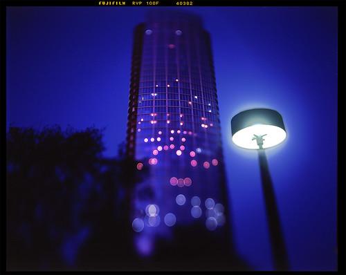 film night dallas downtown shift slidefilm velvia 4x5 rise tilt fujichrome largeformat movements 100f museumtower