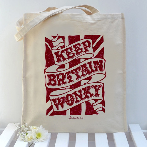 Keep Britain Wonky Tote in Red