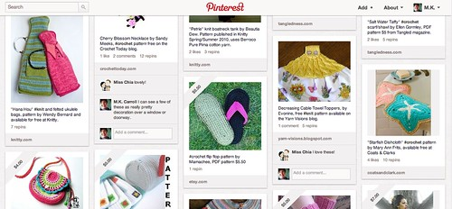 Screen shot of Pinterest board