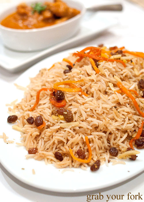 Kabuli pallow traditional Afghani rice at Bamiyan Restaurant, Five Dock