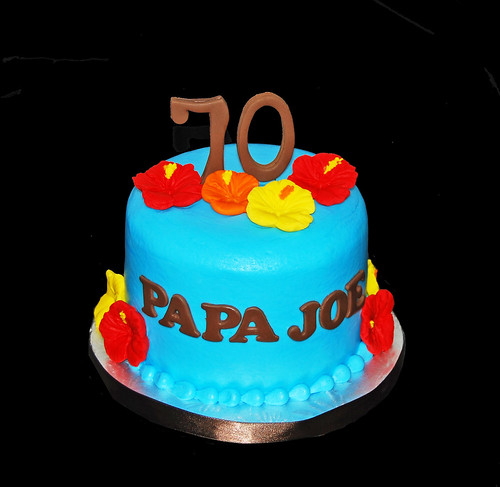 70th birthday hawaiian themed cupcake tower