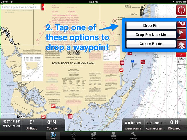 Marine Charts, how to make a waypoint 2