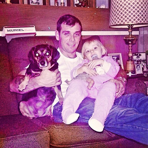 Vintage Photo 1960s Father And Daughter With Dog