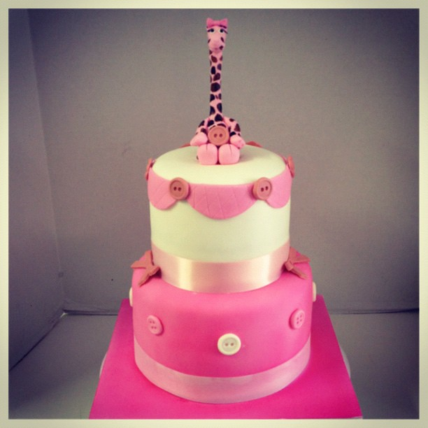 pink giraffe baby shower cake flickr photo sharing