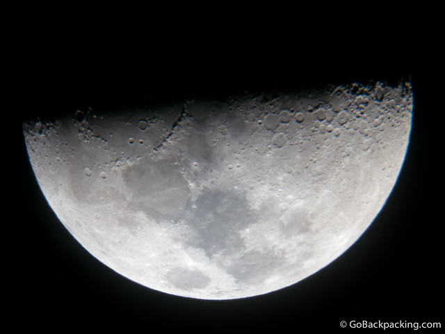 The moon through a telescope, taken during my astronomy tour
