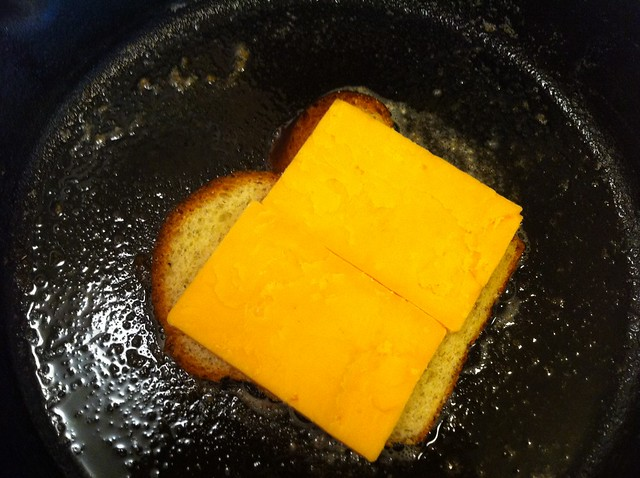 Sliced Cheddar Added to Bread