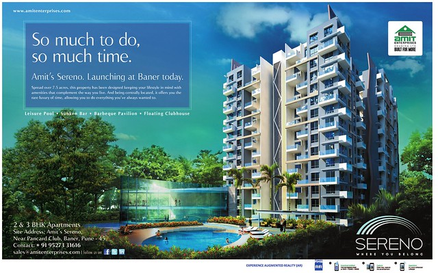 Amit's Sereno, 2 BHK & 3 BHK Flats near Pancard Club, at Baner Pune