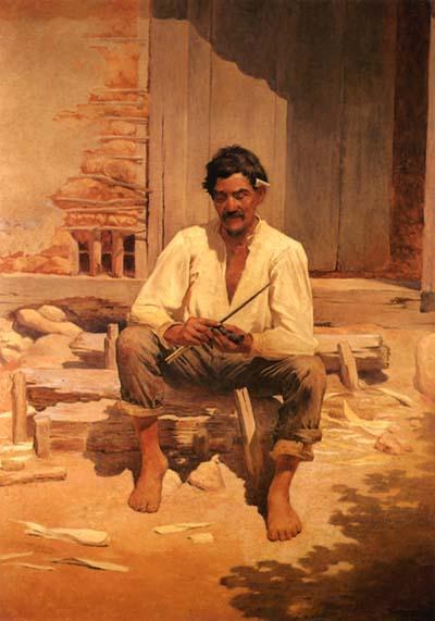 Almeida Júnior. Caipira Picando Fumo (1893).