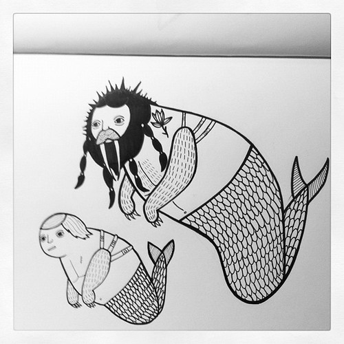 That merboy was raised by that trippy long toothed merman with dung spikes in his hair. #sketchbook by Michael C. Hsiung