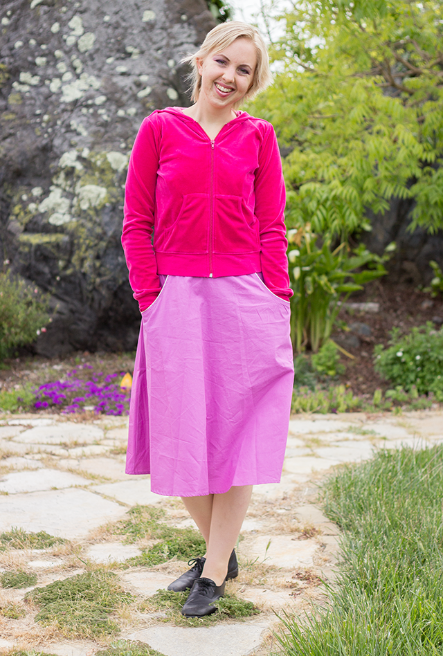 hot pink velour sweater, pastel fuchsia dress from eshakti.com, black leather shoes