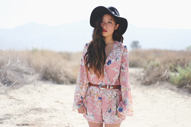 playsuit, floral romper, lulus romper, jumpsuit, festival fashion, coachella fashion, coachella fashion 2014, concho hat, jeffrey campbelll stilson, lulus fashion blogger, coachella 2014, vintage belt
